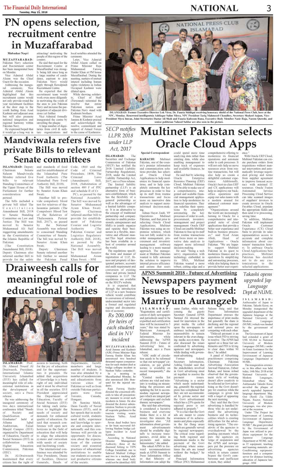 The Financial Daily Epaper 15-05-2018 Page: 3 - The Financial Daily